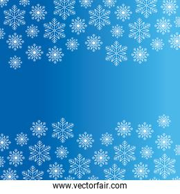 happy merry christmas card with snowflakes pattern in blue background