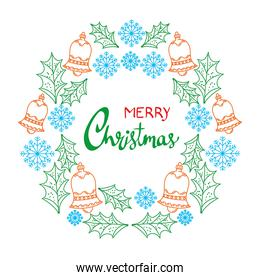 happy merry christmas lettering card with set icons circular frame