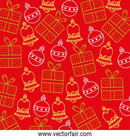 happy merry christmas card with bells and balls, gifts pattern