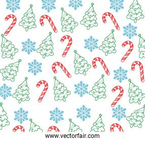 happy merry christmas card with pine tree and canes ,snowflakes pattern