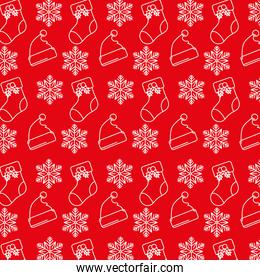 happy merry christmas card with snowflakes and santa hats , socks pattern