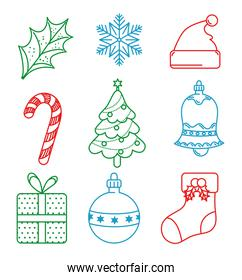 happy merry christmas card with bundle set icons