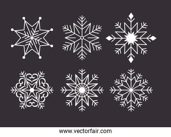 happy merry christmas card with bundle snowflakes