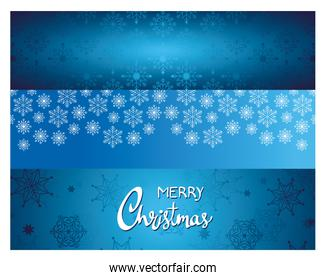 happy merry christmas lettering card with snowflakes pattern