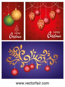 happy merry christmas letterings cards with balls hanging