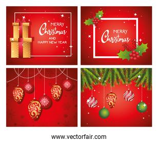 happy merry christmas letterings cards with gifts and balls