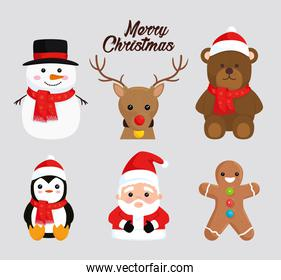 happy merry christmas lettering and set icons