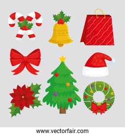 bundle of eight happy merry christmas set icons