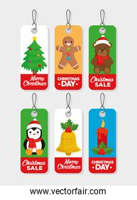 six happy merry christmas tags hanging