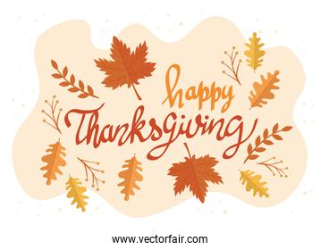 happy thanksgiving celebration lettering card with leafs pattern