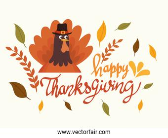 happy thanksgiving celebration lettering card with turkey and leafs