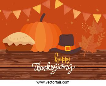 happy thanksgiving celebration lettering card with pilgrim hat and pie