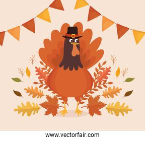 happy thanksgiving celebration card with turkey and garlands