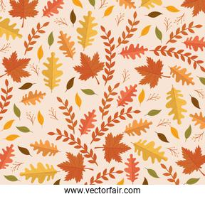 happy thanksgiving celebration card with leafs pattern