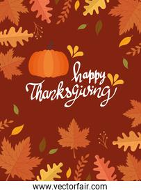 happy thanksgiving celebration lettering card with pumpkin and leafs