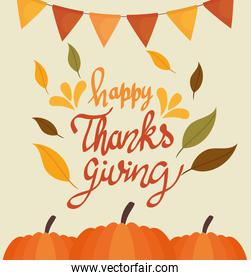 happy thanksgiving celebration lettering card with pumpkins and garlands