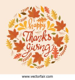 happy thanksgiving celebration lettering card with leafs circular pattern