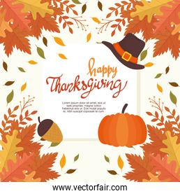 happy thanksgiving celebration lettering card with leafs frame and icons