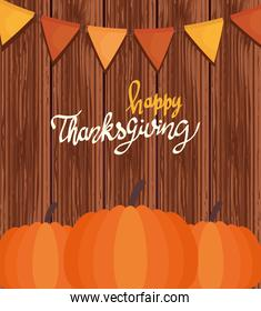 happy thanksgiving celebration lettering card with garlands and pumpkin