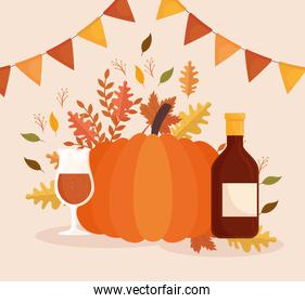 happy thanksgiving celebration card with pumpkin and wine bottle