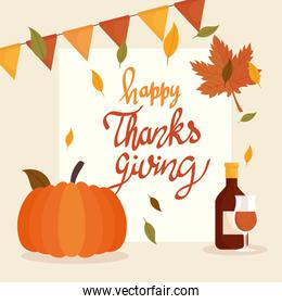 happy thanksgiving celebration lettering card with wine and pumpkin