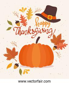 happy thanksgiving celebration lettering card with pilgrim hat and pumpkin