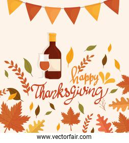 happy thanksgiving celebration lettering card with wine bottle and garlands
