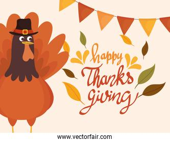 happy thanksgiving celebration lettering card with garlands and turkey
