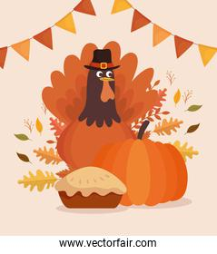happy thanksgiving celebration card with turkey and pie