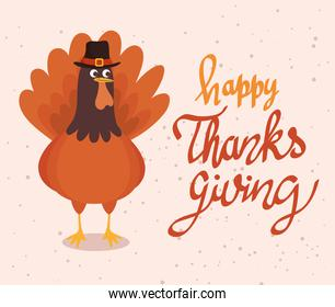 happy thanksgiving celebration lettering card with turkey