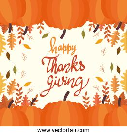 happy thanksgiving celebration lettering card with leaves and pumpkins
