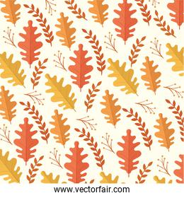 happy thanksgiving celebration card with autumn leafs pattern
