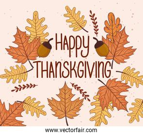 happy thanksgiving celebration lettering card with leafs autumn