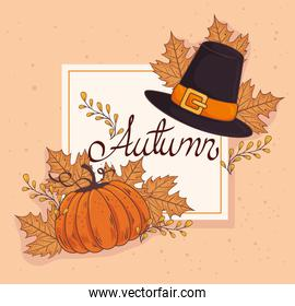 happy thanksgiving celebration lettering card with pumpkin and pilgrim hat