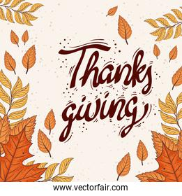 happy thanksgiving celebration lettering card with leafs