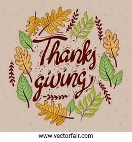 happy thanksgiving celebration lettering card with leafs circular frame