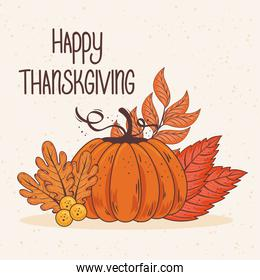 happy thanksgiving celebration lettering card with leafs and pumpkin