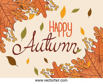 happy thanksgiving celebration lettering card with autumn leaves