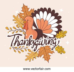 happy thanksgiving celebration lettering card with turkey and leaves