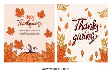 happy thanksgiving celebration lettering card with pumpkin and autumn leafs