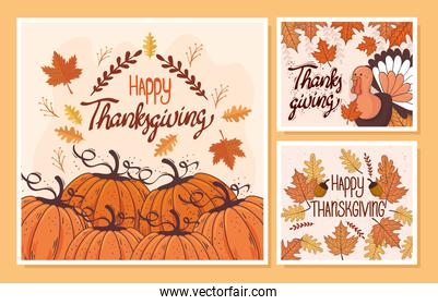 happy thanksgiving celebration lettering card with set templates