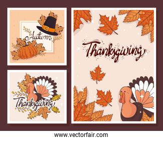 happy thanksgiving celebration lettering card with templates