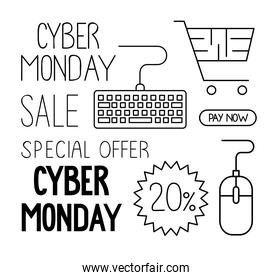 cyber monday set icons in white background