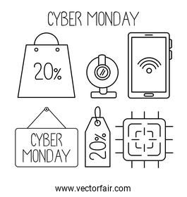 cyber monday set line style icons in white background