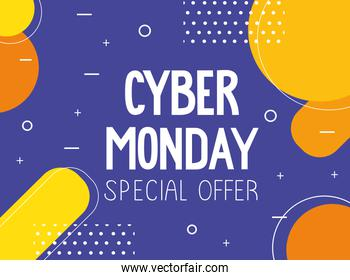 cyber monday lettering in abstract background