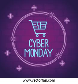 cyber monday neon lettering with shopping cart in circular frame
