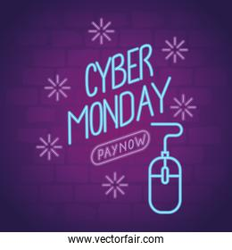 cyber monday neon lettering with mouse