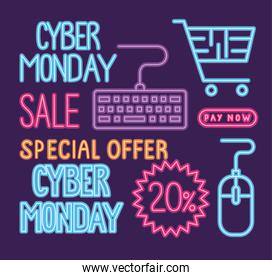 cyber monday sale neon lettering with bundle icons