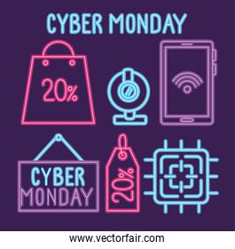 cyber monday neon lettering with bundle set icons
