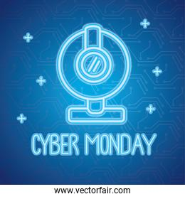 cyber monday neon lettering with webcam